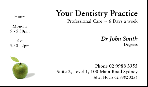 Business Card Design 493 for the Dental Industry.