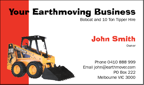 Business Card Design 545 for the Earthmoving Industry.