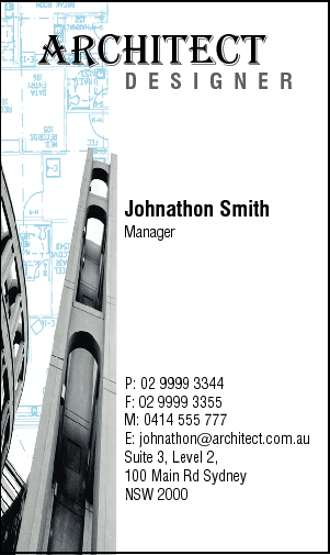 Business Card Design 770 for the Architectural Industry.