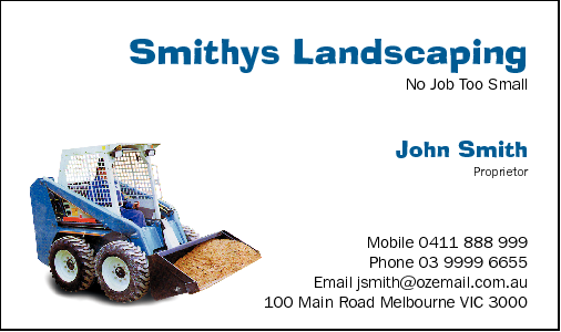 Business Card Design 546 for the Earthmoving Industry.
